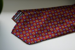 Floral Silk Tie - Untipped - Burgundy/Yellow/Light Blue