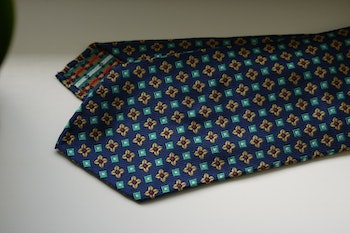 Floral Silk Tie - Untipped - Navy Blue/Yellow/Turquoise/Red
