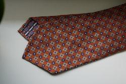 Floral Silk Tie - Untipped - Orange/Navy Blue/Light Blue