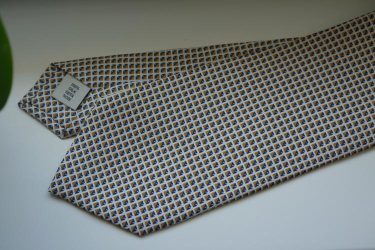 Square Printed Silk Tie - White/Orange/Navy Blue
