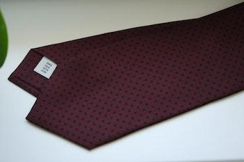 Pindot Printed Silk Tie - Burgundy/Navy Blue