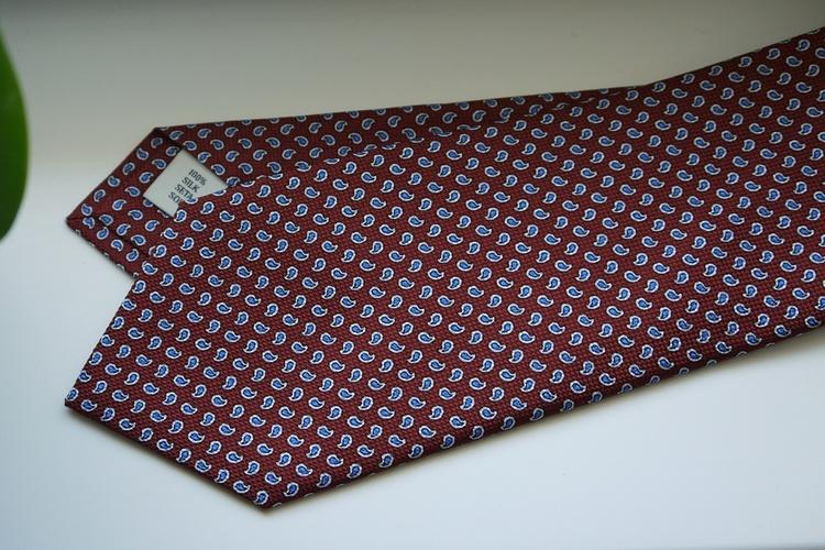 Small Paisley Printed Silk Tie - Rust Orange/Light Blue
