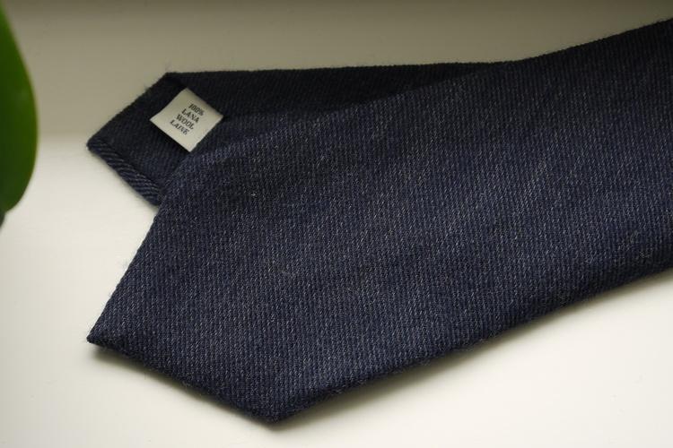 Solid Wool Tie - Navy Blue