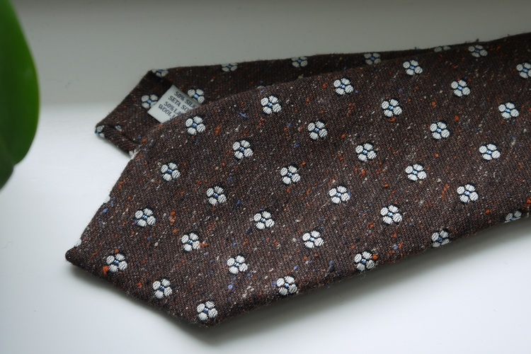 Floral Donegal Wool Tie - Brown/White/Light Blue