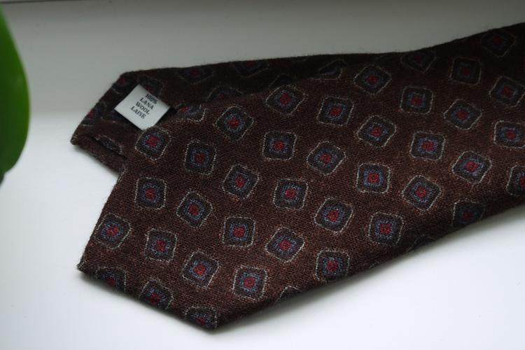 Medallion Printed Wool Tie - Brown/Light Blue