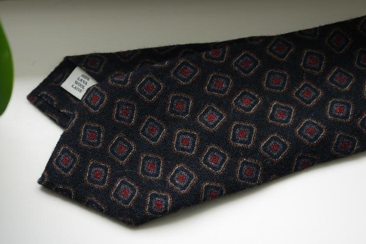 Medallion Printed Wool Tie - Navy Blue/Light Blue/Brown
