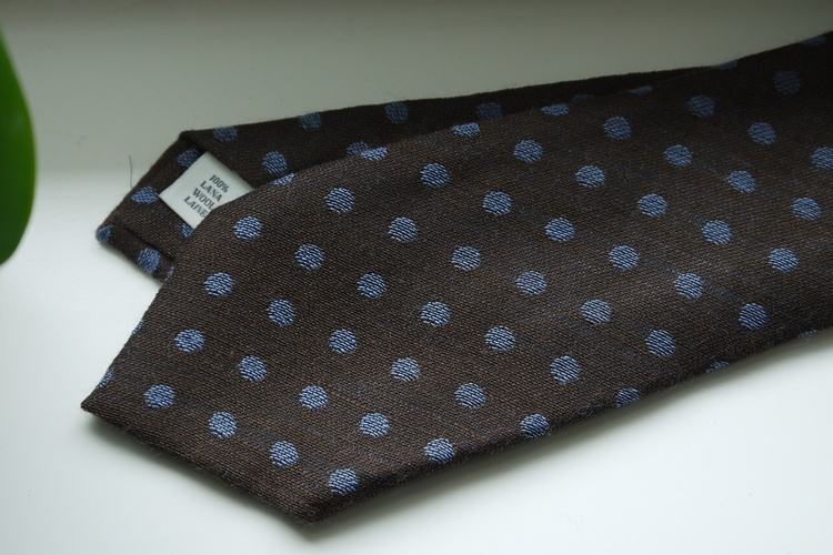 Polka Dot Wool Tie - Brown/Light Blue