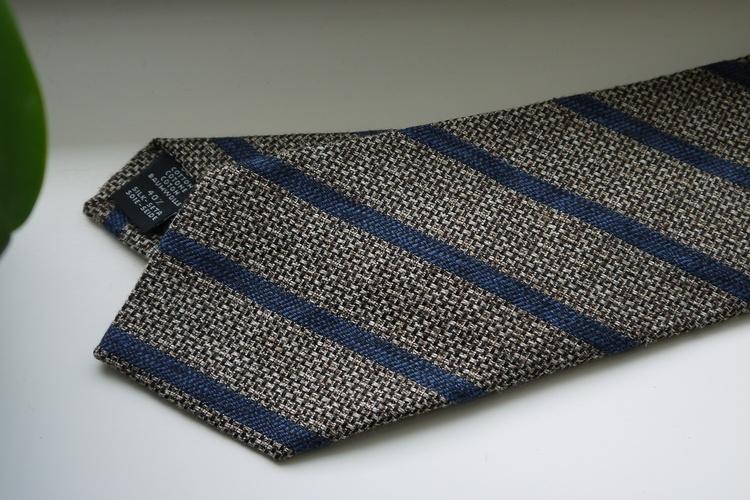 Regimental Cotton/Silk Tie - Beige/Navy Blue