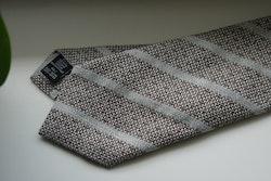 Regimental Cotton/Silk Tie - Brown/Beige
