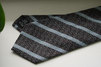 Regimental Cotton/Silk Tie - Brown/Light Blue