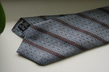Regimental Cotton/Silk Tie - Light Blue/Brown