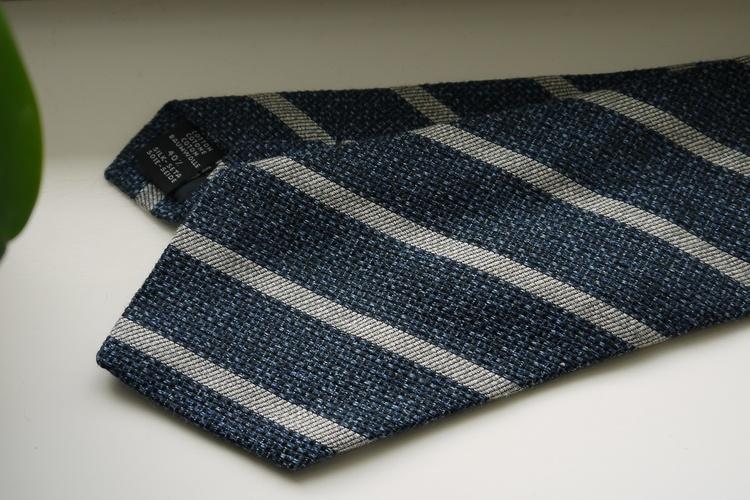 Regimental Cotton/Silk Tie - Navy Blue/White