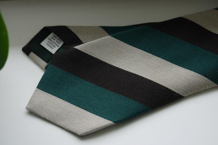 Regimental Silk/Cotton Tie - Brown/Green/White