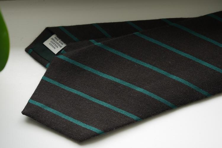 Regimental Silk/Cotton Tie - Brown/Green