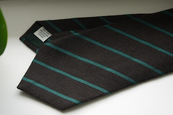 Regimental Silk/Cotton Tie - Brown/Green