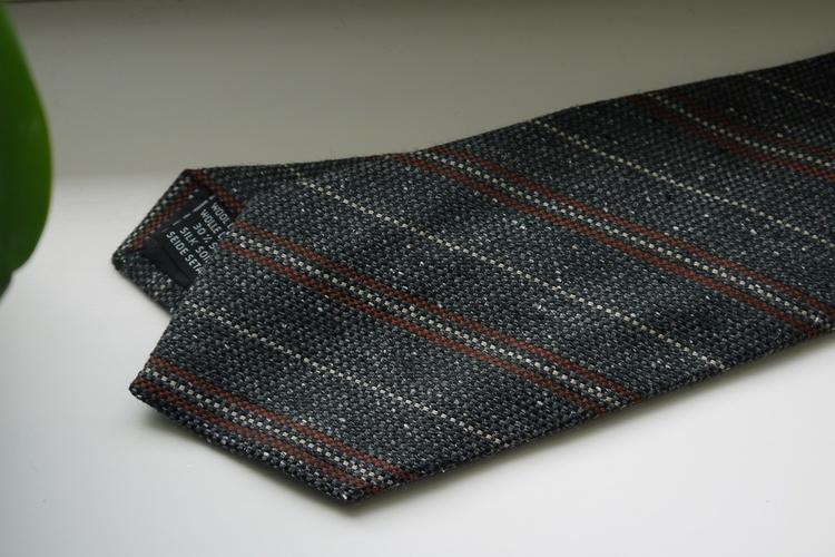 Regimental Wool/Silk Tie - Brown/Grey/Beige