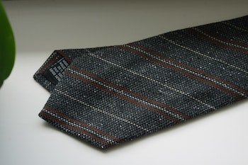 Regimental Wool/Silk Tie - Brown/Grey/Beige