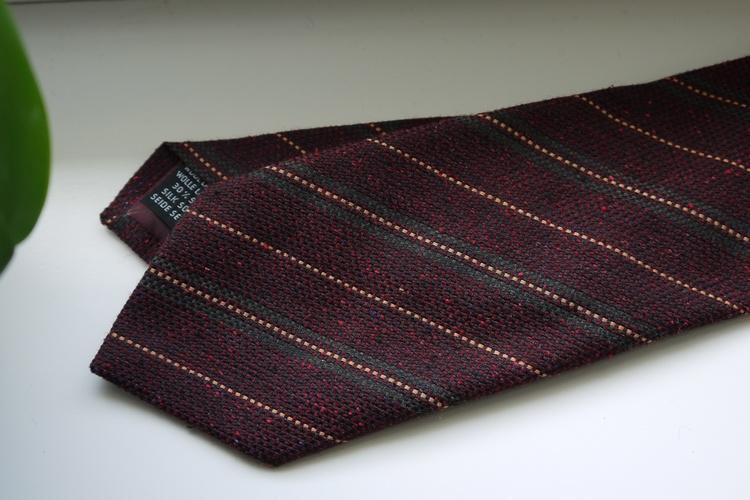 Regimental Wool/Silk Tie - Burgundy/Green/Orange