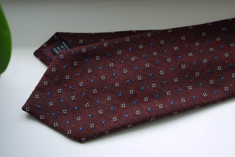 Floral Donegal Wool/Silk Tie - Burgundy/Navy Blue