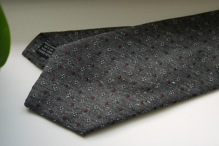Floral Donegal Wool/Silk Tie - Grey/Burgundy