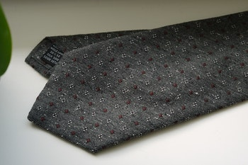 Floral Donegal Wool/Silk Tie - Grey/Burgundy