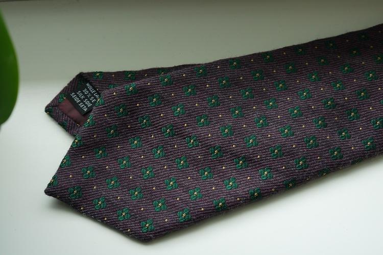 Floral Wool/Silk Tie - Burgundy/Green