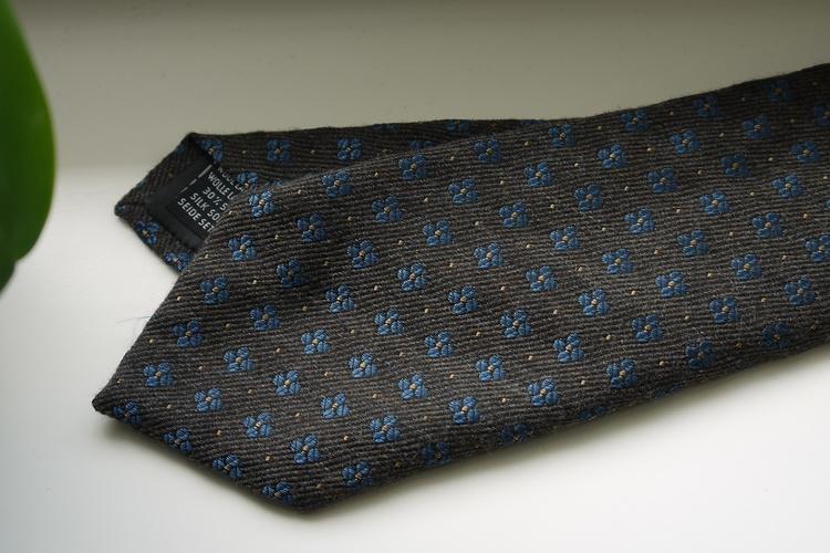 Floral Wool/Silk Tie - Brown/Light Blue