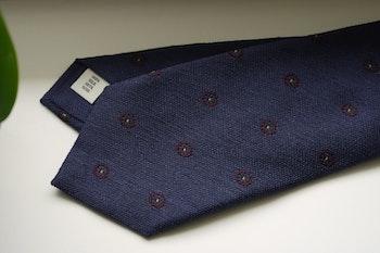 Floral Silk Tie - Navy Blue/Burgundy