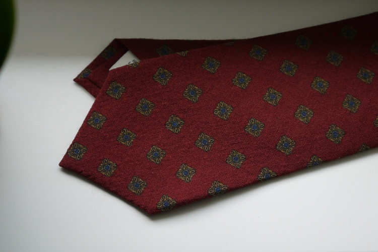 Medallion Printed Wool Tie - Burgundy/Yellow/Blue