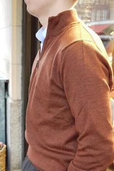 Halfzip Merino Pullover - Rust Orange