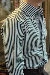 Bengal Stripe Poplin Shirt - Button Down - Green/White