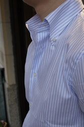 Pinstripe Oxford Shirt - Button Down - White/Light Blue