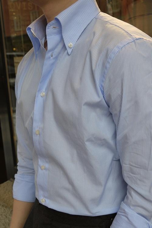 Bengal Stripe Twill Shirt - Button Down - Light Blue/White