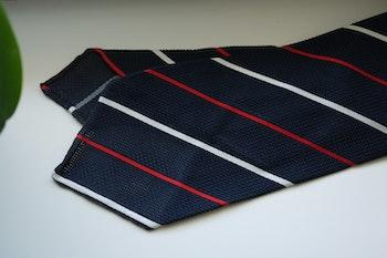Regimental Silk Grenadine Tie - Untipped - Navy Blue/Red/White