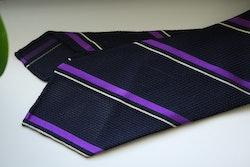 Regimental Silk Grenadine Tie - Untipped - Navy Blue/Purple/White