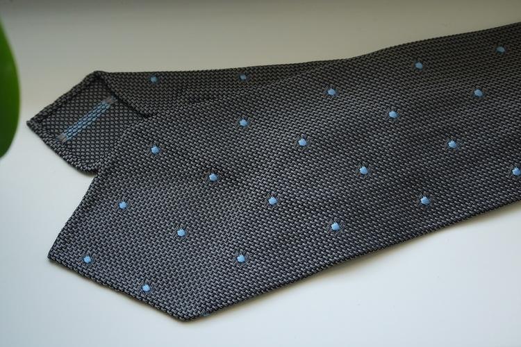 Polka Dot Silk Grenadine Tie - Untipped - Grey/Light Blue