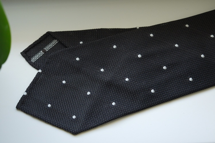 Polka Dot Silk Grenadine Tie - Untipped - Brown/White