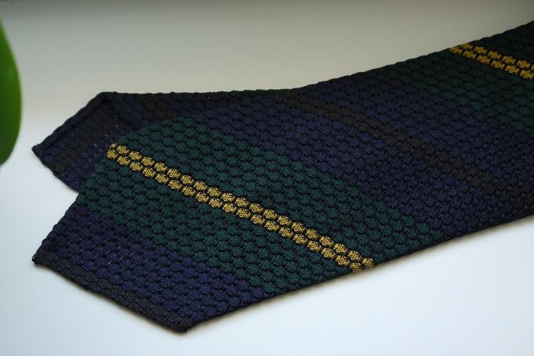Regimental Silk Grenadine Tie - Untipped - Navy Blue/Green/Brown/Yellow