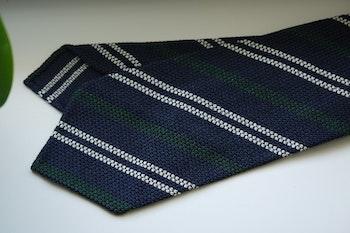 Regimental Silk Grenadine Jacquard Tie - Untipped - Navy Blue/White/Green