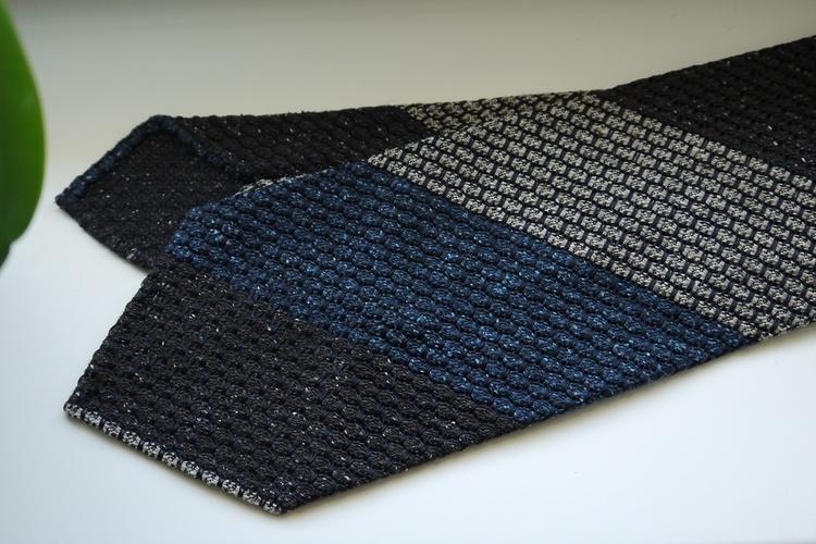 Blockstripe Silk Grenadine Jacquard Tie - Untipped - Navy Blue/Brown/Grey