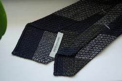 Blockstripe Silk Grenadine Jacquard Tie - Untipped - Navy Blue/Olive Green/BeigeGrey