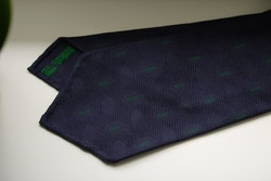 Diamond Silk Garza Tie - Untipped - Navy Blue/Green
