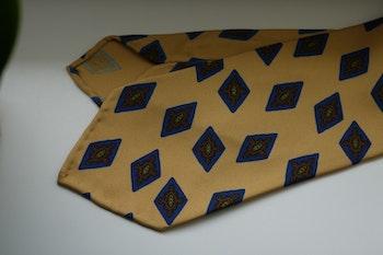 Diamond Printed Silk Tie - Untipped - White/Light Blue/Gold
