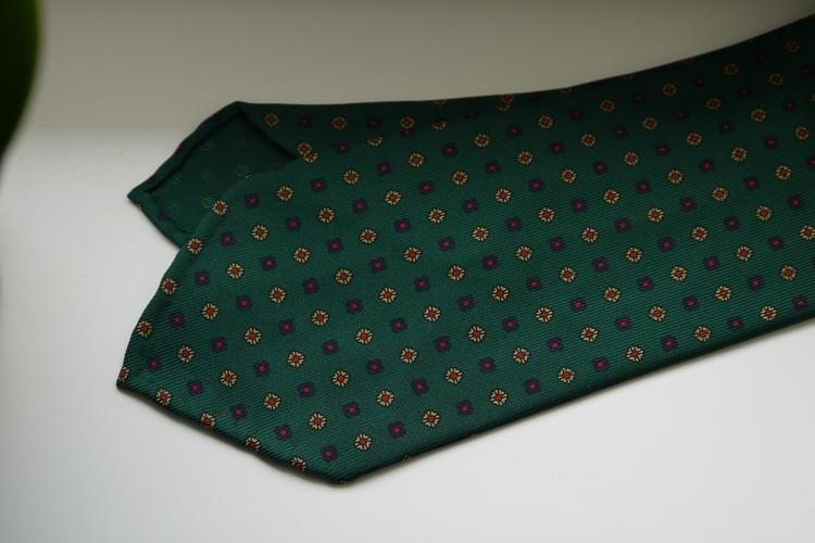 Floral Printed Silk Tie - Untipped - Green/Navy Blue/Red/Beige