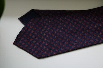 Floral Printed Silk Tie - Untipped - Navy Blue/Burgundy