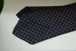 Floral Printed Silk Tie - Untipped - Navy Blue/Orange