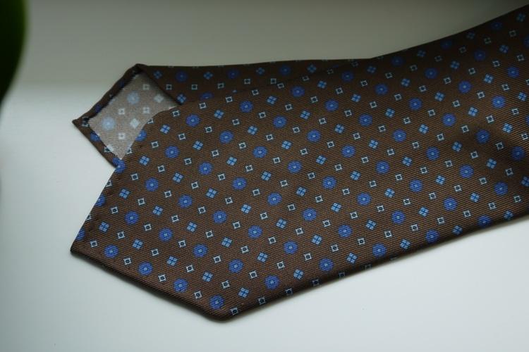 Floral Printed Silk Tie - Untipped - Beige/Brown/Blue