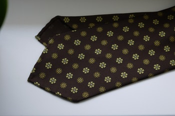 Large Floral Printed Silk Tie - Untipped - Brown/Yellow