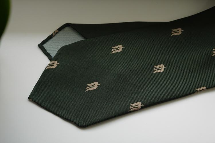 Trident Printed Silk Tie - Untipped - Green/Beige