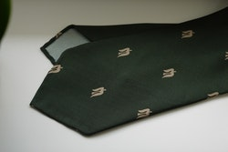 Trident Printed Silk Tie - Untipped - Green/Beige